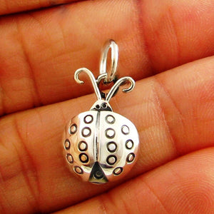 Sterling 925 Silver Lady Bird Beetle Pendant
