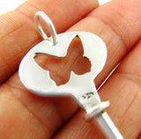 Large Sterling 925 Silver Butterfly Key Pendant