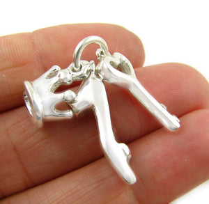 925 Silver Shoe Crown Key Pendant Charms