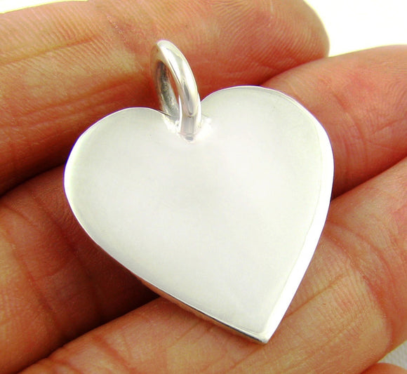 Pretty Sterling 925 Silver Flat Heart Pendant