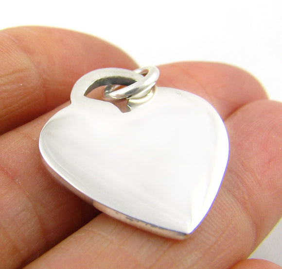 Solid 925 Silver Flat Love Heart Tag Pendant in a Gift Box