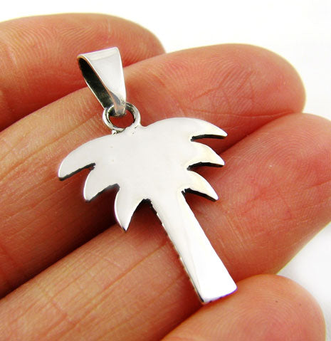 Sterling 925 Silver Palm Tree Holiday Pendant