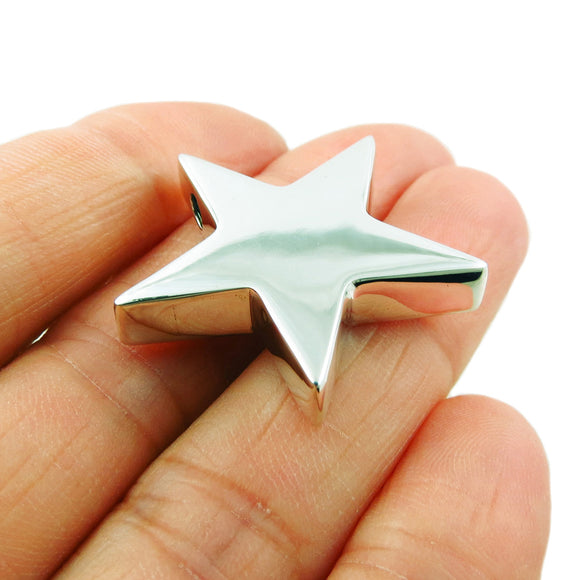 Sterling 925 Silver Three Dimensional Star Pendant