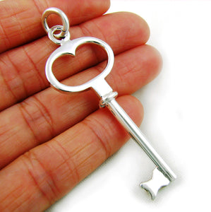 Large 925 Sterling Silver Door Key Pendant