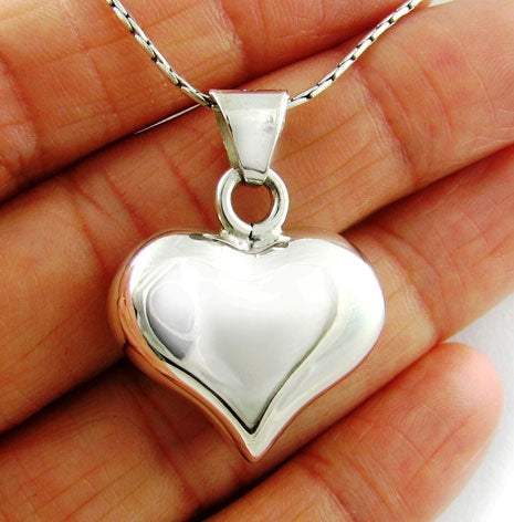 Pretty Sterling 925 Silver Heart Pendant Gift