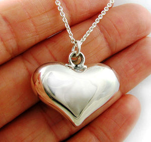 Large Sterling 925 Silver Love Heart Drop Pendant
