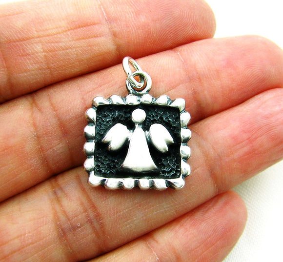 925 Silver Two Tone Guardian Angel Square Pendant