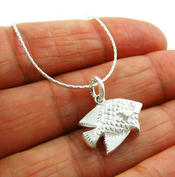 Small Solid Sterling 925 Silver Fish Pendant Gift