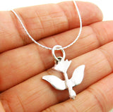 Pretty Solid 925 Silver Dove of Peace Pendant