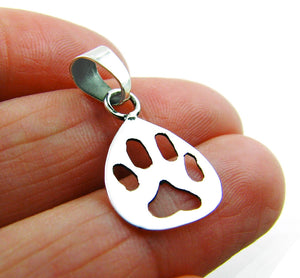 Small 925 Sterling Silver Cut Out Dog Cat Paw Print Pendant