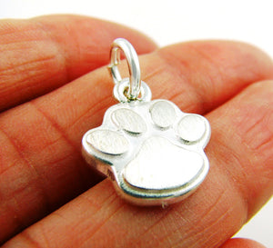 Small 925 Silver Brushed Animal Paw Print Pendant