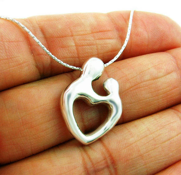 Mother and Child 925 Sterling Silver Heart Pendant