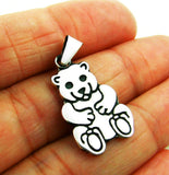 Solid Sterling 925 Silver Teddy Bear Pendant
