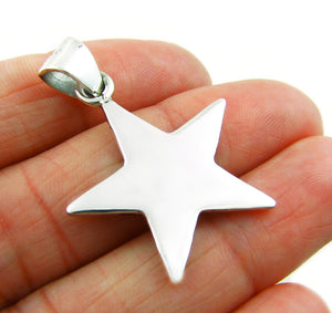Solid 925 Sterling Silver Celestial Star Shaped Pendant