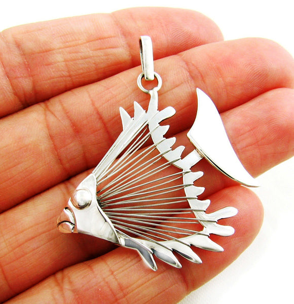 Large Sterling 925 Silver Fish Pendant