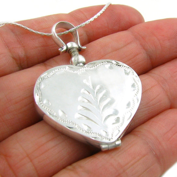 Sterling 925 Silver Heart Shaped Locket Pendant