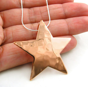 Large Solid Hammered Mexican Copper Star Pendant