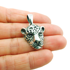 Sterling 925 Silver Leopard Head Animal Pendant Gift Boxed