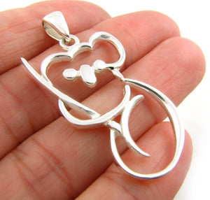 Pretty Solid Sterling 925 Silver Koala Bear Pendant