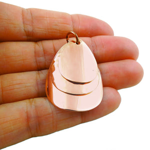 Solid Polished and Hammered Copper Triple Drop Pendant in a Gift Box
