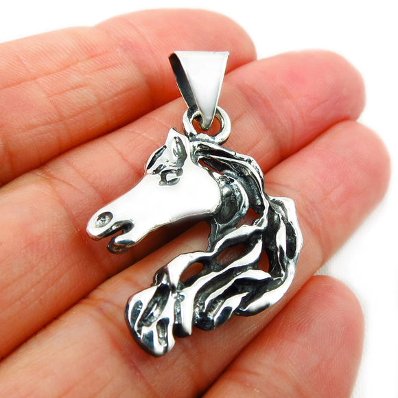Solid Sterling 925 Silver Equestrian Horse Head Pendant