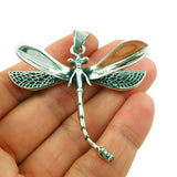 Large Dragonfly 925 Sterling Silver Pendant in a Gift Box