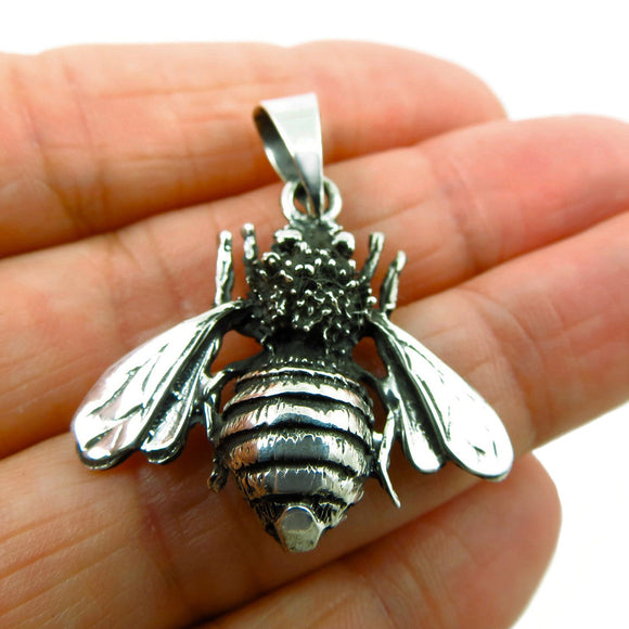 925 Sterling Silver Bumblebee Insect Bee Pendant