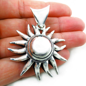 Large HM Hallmarked Sterling 925 Taxco Silver Sun Burst Drop Pendant