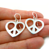 Heavy Sterling 925 Silver Peace Symbol Love Heart Pendant