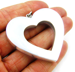 Large Hallmarked Sterling 925 Silver Three Dimensional Love Heart Pendant