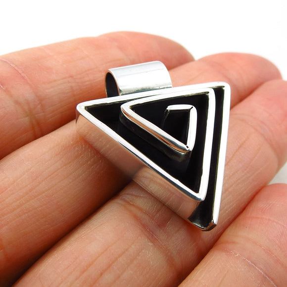 Solid Sterling 925 Silver Triangle Maze Drop Pendant