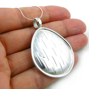 Large Solid 925 Taxco Silver Oval Drop Disc Pendant Jewellery