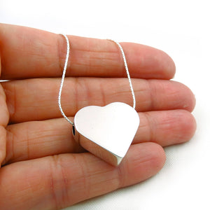 Polished 925 Silver Three Dimensional Love Heart Pendant