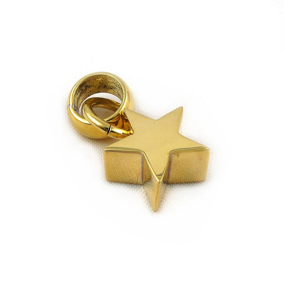 Polished Three Dimensional Brass Celestial Star Pendant in a Gift Box