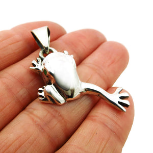 925 Sterling Silver Leaping Frog Pendant