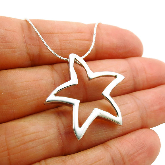 Solid 925 Sterling Silver Starfish Pendant