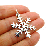 Winter Snowflake Polished 925 Sterling Silver Pendant in a Gift Box