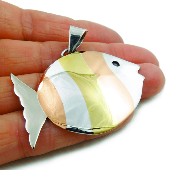 Solid 925 Sterling Silver Fish Pendant Mixed Metals