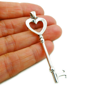 Large 925 Sterling Silver Birthday Anniversary Key Design Pendant