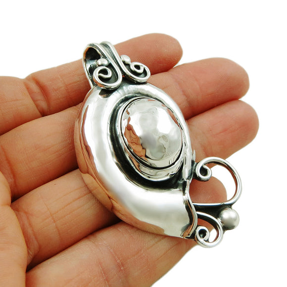 Sea Shell 925 Sterling Taxco Silver Oval Drop Pendant