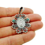Virgin of Guadalupe 925 Sterling Taxco Silver Pendant