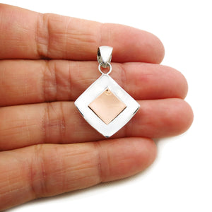 Square Solid 925 Sterling Silver and Copper Pendant in a Gift Box
