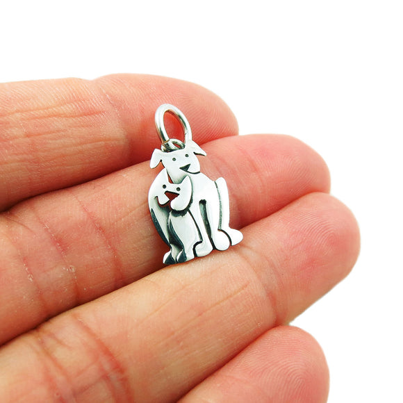 Dog and Cat Animal Pets 925 Sterling Silver Pendant