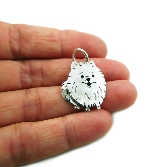 Pomeranian 925 Sterling Silver Dog Pendant in a Gift Box