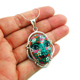 Large 925 Sterling Silver and Mexican Talavera Green Painted Face Pendant