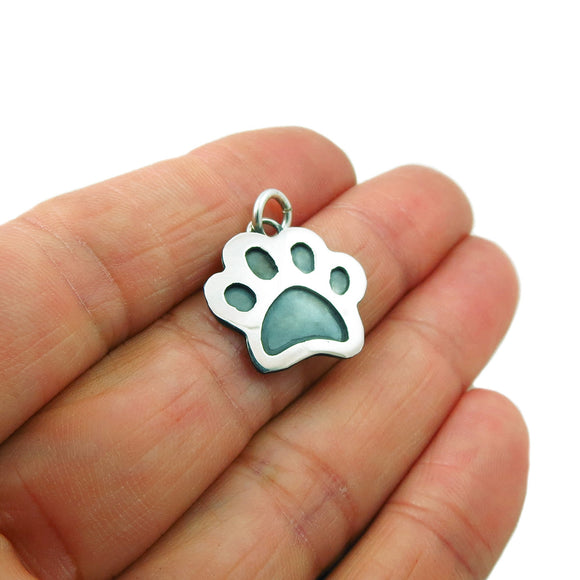 Animal Paw Print 925 Sterling Silver Pendant in a Gift Box