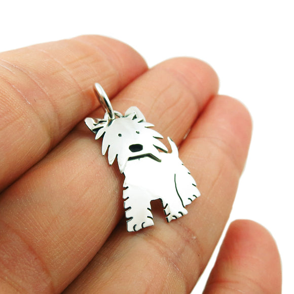 Terrier Dog 925 Sterling Silver Pendant