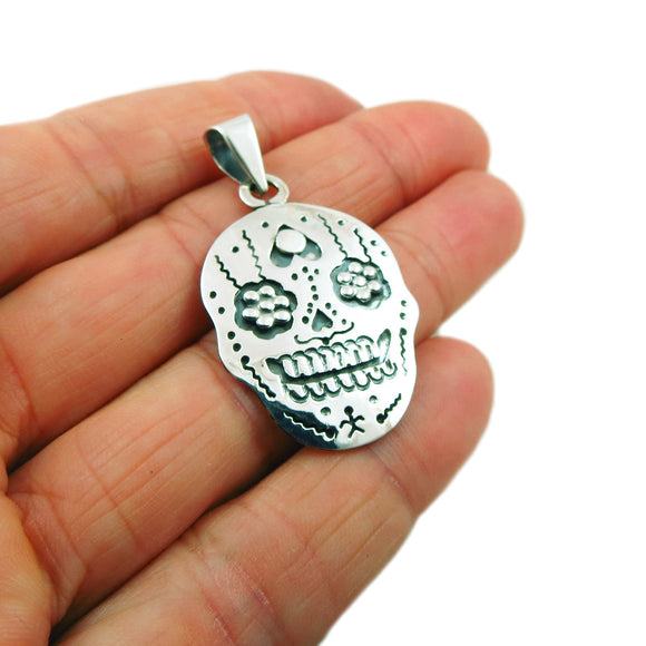 Mexican Day of the Dead 925 Sterling Silver Sugar Skull Pendant
