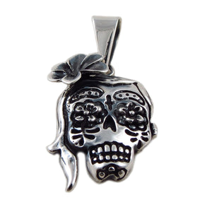 Mexican Day of the Dead Skull and Flowers La Catrina Pendant