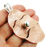 Large Silver and Textured Copper Oval Drop Pendant